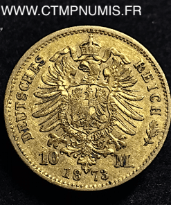 ALLEMAGNE BAVIERE 10 MARK OR LOUIS II 1873 D