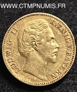 ALLEMAGNE BAVIERE 10 MARK OR LOUIS II 1881 D