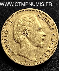 ALLEMAGNE BAVIERE 10 MARK OR LOUIS II 1876 D