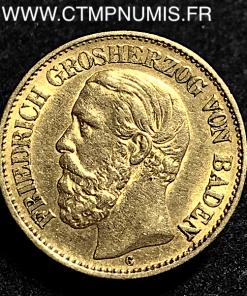ALLEMAGNE BADEN 10 MARK OR LOUIS II 1876 G