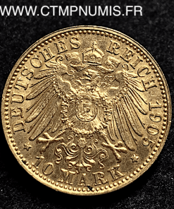 ALLEMAGNE BAVIERE 10 MARK OR OTTO 1905 D