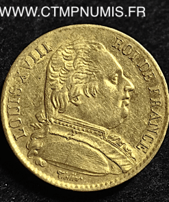 20 FRANCS OR LOUIS XVIII BUSTE HABILLE 1815 W LILLE