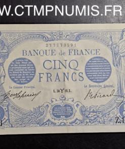 BILLET 5 FRANCS BLEU TYPE 1905 30 MARS 1916 BELIER