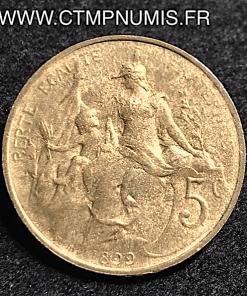 5 CENTIMES DANIEL DUPUIS 1899 FRAPPE DECALEE