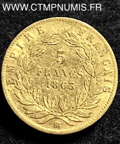 5 FRANCS OR NAPOLEON III 1863 BB STRASBOURG