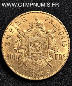 100 FRANCS OR NAPOLEON III TETE LAUREE 1862 PARIS