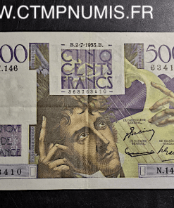 BILLET 500 FRANCS CHATEAUBRIAND 2 JUILLET 1953