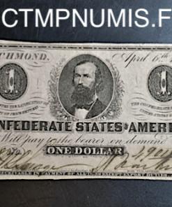 USA BILLET 1 DOLLAR RICHMOND 1863