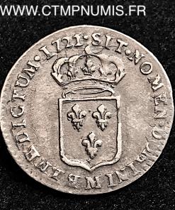 LOUIS XV 1/12 ECU DE FRANCE 1721 M TOULOUSE
