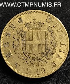 ITALIE 10 LIRE OR VICTOR EMMANUEL II 1865 T TURIN