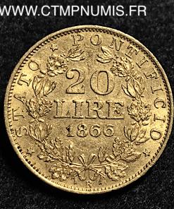 ITALIE VATICAN 20 LIRE OR PIE IX 1866 R ROME XXI