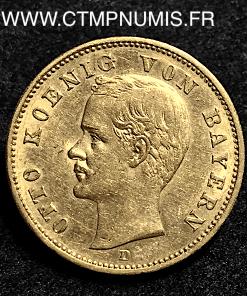 ALLEMAGNE BAVIERE 20 MARK OR 1905 D