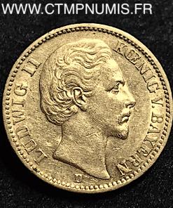 ALLEMAGNE BAVIERE LOUIS II 20 MARK OR 1874 D