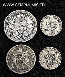 LOT DE 4 MONNAIES ARGENT CERES, NAPOLEON III,