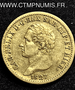 SARDAIGNE 20 LIRE OR CHARLES FELIX 1827 TURIN