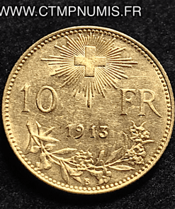 SUISSE 10 FRANCS OR VRENELI 1913 SUP