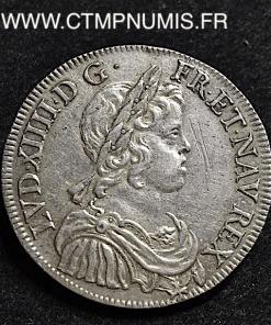 LOUIS XIV 1/2 ECU ARGENT MECHE COURTE 1644 PARIS