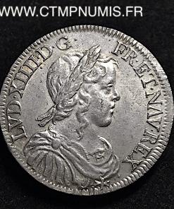 LOUIS XIV 1/2 ECU A LA MECHE LONGUE 1649 A PARIS