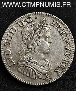 LOUIS XIV 1/4 ECU A LA MECHE COURTE 1643 A PARIS