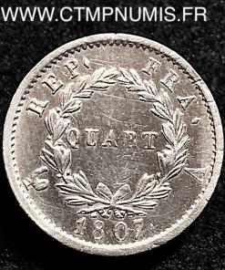 QUART DE FRANC NAPOLEON TETE LAUREE 1807 A