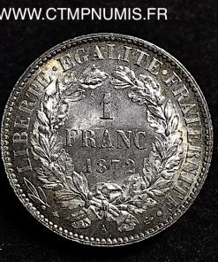 1 FRANC CERES III° REPUBLIQUE 1872 A PARIS