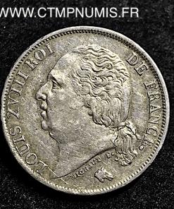 1 FRANC ARGENT LOUIS XVIII 1824 A PARIS TTB