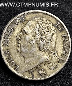 1 FRANC ARGENT LOUIS XVIII 1823 W LILLE SUP