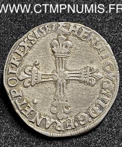 HENRI III 1/4 ECU ARGENT 1587 M TOULOUSE