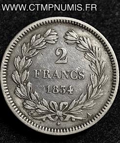 2 FRANCS ARGENT LOUIS PHILIPPE I° 1834 A PARIS