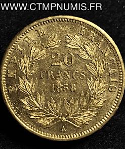 20 FRANCS OR NAPOLEON III 1858 A PARIS SUP