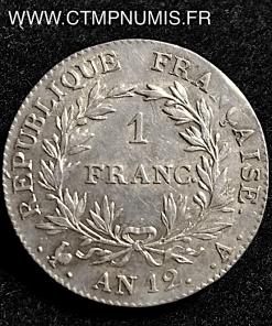 1 FRANC BONAPARTE CONSUL AN 12 A PARIS