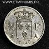 1/4 DE FRANC ARGENT CHARLES X 1830 A PARIS