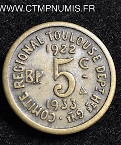 ESSAI 5 CENTIMES TOULOUSE 1922/1933 BRONZE