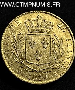 20 FRANCS LOUIS XVIII BUSTE HABILLE 1814 LILLE