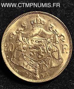 BELGIQUE 20 FRANCS OR ALBERT 1914 FLAMAND