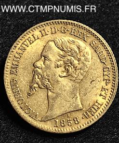 ITALIE SARDAIGNE 20 LIRE OR 1858 GENES TTB