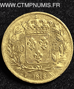 20 FRANCS OR LOUIS XVIII BUSTE NU 1818 W LILLE
