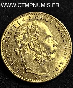 HONGRIE 20 FRANCS 8 FORINT OR FRANCOIS 1889