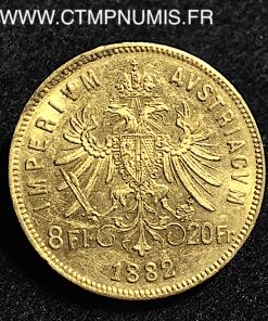 AUTRICHE 20 FRANCS 8 FLORIN OR FRANCOIS 1882