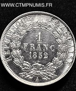1 FRANC NAPOLEON BONAPARTE 1852 A PARIS