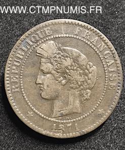 10 CENTIMES CERES 1871 K BORDEAUX RARE
