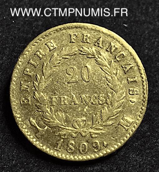 20 FRANCS OR NAPOLEON I° 1809 M TOULOUSE
