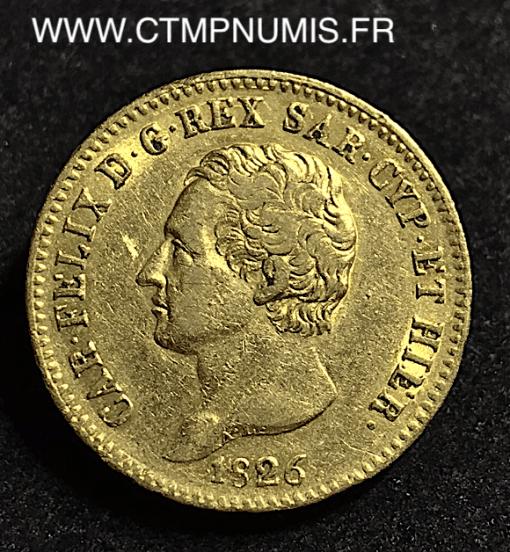 ITALIE 20 LIRE OR CHARLES FELIX 1826 TURIN