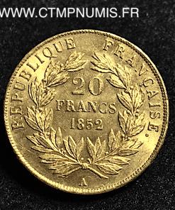 20 FRANCS OR NAPOLEON BONAPARTE 1852 PARIS