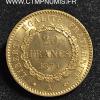 20 FRANCS OR GENIE III° REPUBLIQUE 1875 A PARIS