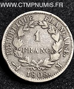 1 FRANC ARGENT NAPOLEON I° 1808 M TOULOUSE