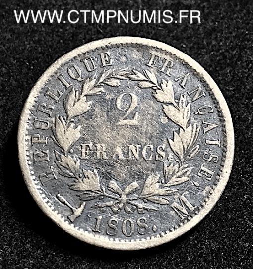 2 FRANCS ARGENT NAPOLEON 1808 M TOULOUSE