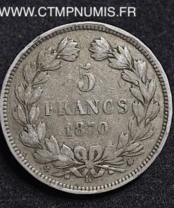5 FRANCS CERES 1870 K BORDEAUX A.E.OUDINE