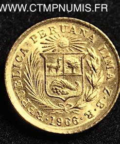 PEROU 1/5 LIBRA OR INDIEN 1966 SPL 1,60 gr