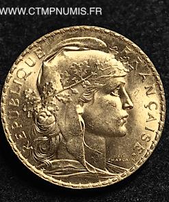 20 FRANCS OR COQ 1910 SPL